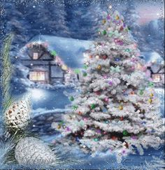 Discover & share this Winter GIF with everyone you know. Christmas Scenes, Noel Christmas, Vintage Christmas Cards, Christmas Pictures, Christmas Greetings, Winter Christmas, Christmas Lights, Christmas Decorations, Winter Snow