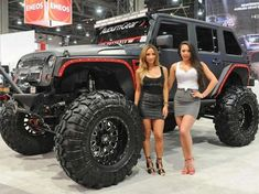These Girls Love Diesel Trucks. Read more. Wrangler Jeep, Jeep Jk, Jeep Wrangler Unlimited, Jeep Truck, Jeep Wranglers, Trucks And Girls, Car Girls, Big Trucks, Girl Car