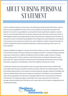 A Great Nursing Personal Statement Example For Nursing