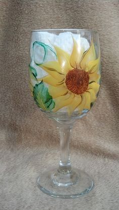 Sunflowers  Hand Painted Wine Glasses (goblets) Set of 4. $22.00, via Etsy.
