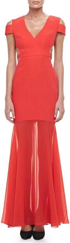 BCBGMAXAZRIA Ava Cutout Sheer-Skirt Gown #bcbg #cutout #red #coral #dress #orange #fashion #sheer