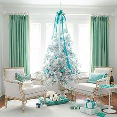 White & Aqua Christmas Tree. Image Via: Apartment Therapy