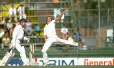 Jeff Thomson unleashes a fastball for Australia against England during the second Test in Brisbane in 1982. Photograph: Adrian Murrell/Getty...