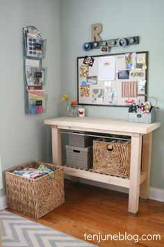 craft room makeovers Ten June: Craft Room + Home Office Organization Makeover with a DIY linen memo board with fabric pockets Diy Organisation, Storage Room Organization, Home Office Organization, Craft Room Storage, Organizing Ideas, Office Nook, Home Office Space, Home Office Design, Office Decor