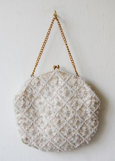 Vintage Beaded Evening Bags   Home / Off white vintage 60's beaded evening bag