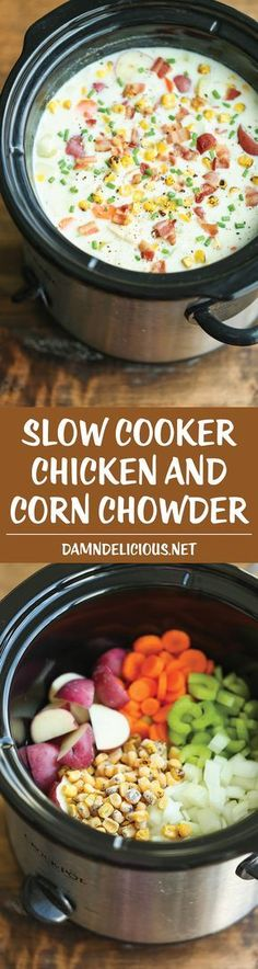 Cooker Chicken and Corn Chowder Slow Cooker Chicken and Corn Chowder - Such a hearty, comforting and CREAMY soup, made right in the crock pot. Let it do all the work for you!Slow Cooker Chicken and Corn Chowder - Such a hearty, comforting and CREAMY Crockpot Dishes, Crock Pot Slow Cooker, Crock Pot Cooking, Slow Cooker Chicken, Slow Cooker Recipes, Cooking Recipes, Crockpot Meals, Healthy Recipes, Crock Pots