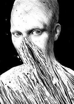 Dark, detailed black and white drawings by Anders Røkkum