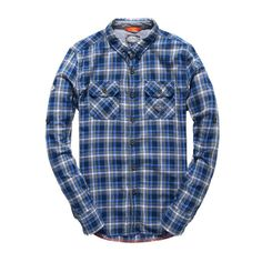 Superdry Grindlesawn Shirt ($50) ❤ liked on Polyvore featuring men's fashion, men's clothing, men's shirts, men's casual shirts, blue, mens long sleeve shirts, mens button down collar shirts, mens lined flannel shirts, mens long sleeve collared shirts and mens blue shirt