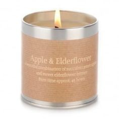 Apple Elderflower Scented Tin Candle ($13) ❤ liked on Polyvore featuring home, home decor, candles & candleholders, fragrance candles, apple candle, embossed candles, scented tin candles and apple scented candles