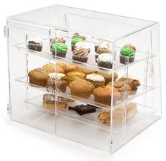 Acrylic Food Display Case with Trays Acrylic Containers, Small Bakery, Bakery Interior, Bakery Display, Displays, Bakery Business, Acrylic Display, Laser Cut Acrylic, Display Cases