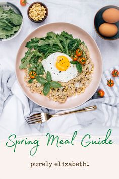Nurture your body with delicious and nutritious food with our free spring meal guide! Purely Elizabeth's healthy spring recipes are easy and fun to whip up. College Meal Planning, College Meals, Clean Eating Breakfast, Quick Healthy Breakfast, Veggie Recipes, Vegetarian Recipes, Veggie Food, Good Food, Yummy Food