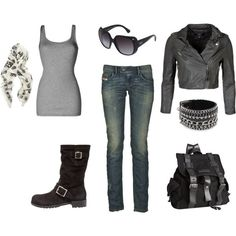 Black & Grey biker chick style..cute! Minus the cuff bracelet, I'm not that hard core.