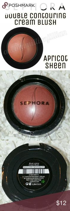 Sephora Double Contouring Cream Blush New/Sealed  Full Sz & Authentic  Color: Apricot Sheen (tawny nude w/ gold shimmer)  This silky, contouring cream blush conditions & moisturizes the skin upon application while providing a flush of healthy color. The revolutionary blush sculpts in 2 ways: Portulaca Complex smoothes, while the cream-to-powder finish contours cheekbones for a young, beautiful look. The weightless formula effortlessly blends into the skin & the micronized pigments provide…