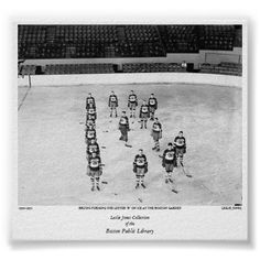 """Bruins forming the letter """"B"""" on ice at the Boston Print"""