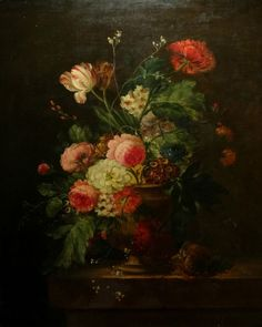 Fine Large 18th Century Dutch Old Master Still Life Flowers Antique Oil Painting
