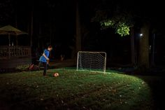 Outdoor lighting for after dark fun. This $24.99 light is super cool.
