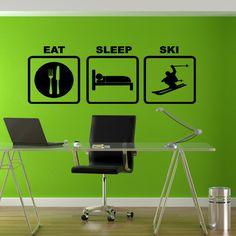 Eat Sleep Ski Sticker Vinyl Wall Art
