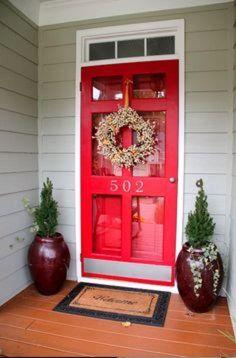Front Door With Screen, Wooden Screen Door, Black Front Doors, Front Door Design, Glass Screen Door, Front Storm Door Ideas, Glass Door, Front Stoop, Front Porches