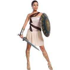 Wonder Woman Movie - Wonder Woman Beach Battle Deluxe Women's Costume ($58) ❤ liked on Polyvore featuring costumes, halloween costumes, lady costumes, women's halloween costumes, white lady costume, womens snow white costume and womens wonder woman costume