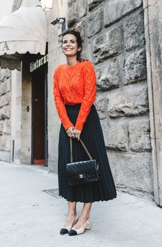 I love the texture and color of the sweater and the sleek/flowing feel of the skirt. The chunky heel is cute too.