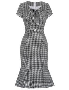 Womens-40s-50s-Retro-Vintage-Pinup-Pencil-Wiggle-Dress-Party-Cocktail-Dresses