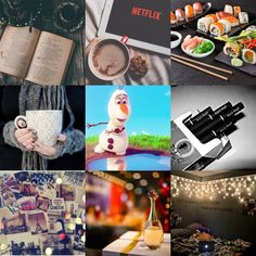 #starterpack #book #cigarettes #frozen #hotchocolate #tea #movie #sushi #lights #travel