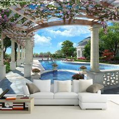 9.46$  Watch now - http://alirt5.shopchina.info/go.php?t=1000002010128 - European Style Blue Sky Pool Photo Wall Papers Roll Living Room 3D Room Wallpapers Landscape Beautiful Background Papel Pintado 9.46$ #shopstyle