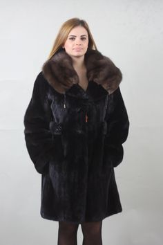 Luxury gift/Black Mink fur coat Full Skin with sable by skffurs