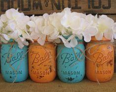 Set of 4 Pint Mason Jars, Ball jars, Painted Mason Jars, Flower Vases, Rustic Wedding Centerp Glow Stick Jars, Glow Sticks, Glow Jars, Pint Mason Jars, Ball Mason Jars, Glow Stick Wedding, Easter Sale, Painted Jars, Hand Painted