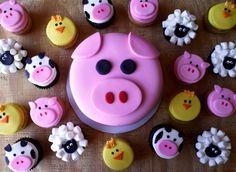 Adventures in Savings: Rose Bakes. A Pig Smash Cake + Barnyard Cupcakes Barnyard Cupcakes, Farm Animal Cupcakes, Pig Cupcakes, Cupcake Cakes, Party Cupcakes, Fancy Cakes, Cute Cakes, Petting Zoo Party, Piggy Cake