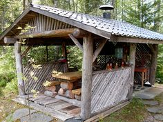 Cabana, Gazebo, Pergola, Green Woodworking, Relaxing Places, Summer Kitchen, Cabins In The Woods, Building Plans, Homesteading