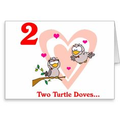 On the 2nd Day of Christmas two Turtle Doves Greeting Card