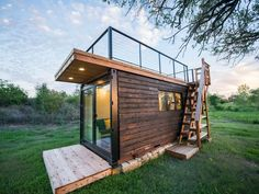 """""""Yellow & Blue"""" Shipping Container Home by Texas-based CargoHome Tiny House Movement // Tiny Living // Tiny House Rooftop Deck // Container House // Tiny Houses For Rent, Tiny House On Wheels, Tiny House Rentals, White Shiplap Wall, Small Sink, Container House Plans, Container Cabin, Cargo Container, Container Design"""