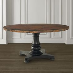 Round Copper Dining Table by Bassett Furniture Dinning Table Design, Rustic End Tables, Round Pedestal Dining Table, Round Wood Coffee Table, Dining Table Chairs, Dining Room Furniture, Table Legs, Side Tables, Dining Area