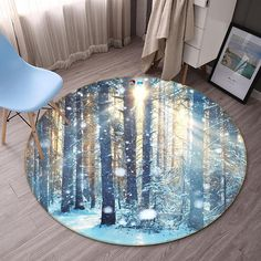 Sunlight Forest 78 Non Lip Round Rug Room Mat Photo Carpet Bathroom Office Home Quality Living