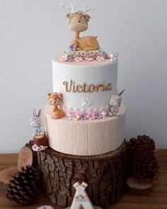 1st Birthday Cake For Girls, Baby Birthday Cakes, Torta Baby Shower, Baby Shower Fun, Woodland Cake, Love Cake, Cute Cakes, Cake Creations, Cake Art