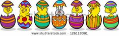 Cartoon Vector Illustration of Six Little Yellow Chickens or Chicks and one Easter Bunny in Colorful Eggshells of Easter Eggs by Igor Zakows...