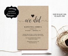 Rustic Wedding Reception Invitations, Casual Elopement Party Cards, Nothing Fancy Just Love Elopement Reception, Wedding Reception Invitations, Rustic Wedding Reception, Reception Party, Party Invitations, Elopement Party, Before Wedding, Our Wedding, Wedding Stuff