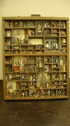 miniature library shadow box, the details are amazing! (only 750 euros) Vitrine Miniature, Miniature Rooms, Shadow Box, Curiosity Cabinet, Printers Drawer, Diy Vintage, Decoration Inspiration, Library Inspiration, Tiny World