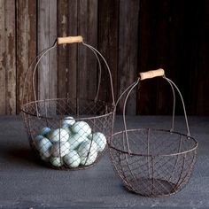 Unique Great Industrial Farmhouse Utility Basket with Handles Green Rust