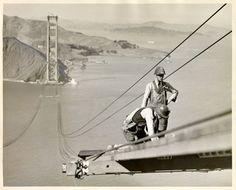 Golden Gate Bridge construction, 1935