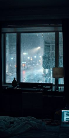 Photo by Gian Cescon on Unsplash laptop computer left turned-on on bed inside room during rainy night Night Aesthetic, City Aesthetic, Aesthetic Bedroom, Aesthetic Grunge, Rainy Night, Rainy Days, Night Rain, Night Night, Night Club
