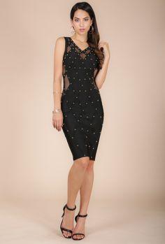 e342989fa86  MAGNOLIA  STUDDED GEOMETRIC BANDAGE DRESS (K4746) - WOW Couture Asia  Bandage Dresses