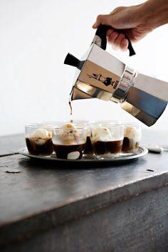 Espresso over ice cream