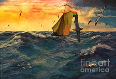 Peril at Sea by Lianne Schneider - digital oil painting, an interpretation and adaptation of a Bob Hines public domain image.