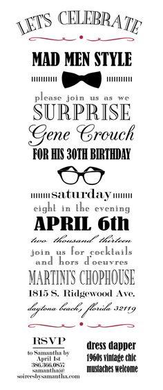 Mad Men Party Invitation  Vintage Typography  by LetterandthePress, $20.00