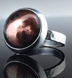 Dome Ring  Sterling Silver and Copper Dome by ElegantEarthJewelry