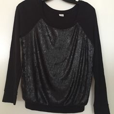 Sequin Front Blouse Long sleeve black top with a sequin panel in front Three Dots Tops Blouses