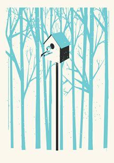 Forest 2 Bird House Art Print