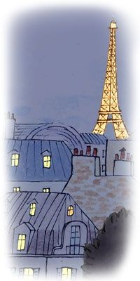 Night time Eiffel Tower illustration, My Little Paris by Kanako